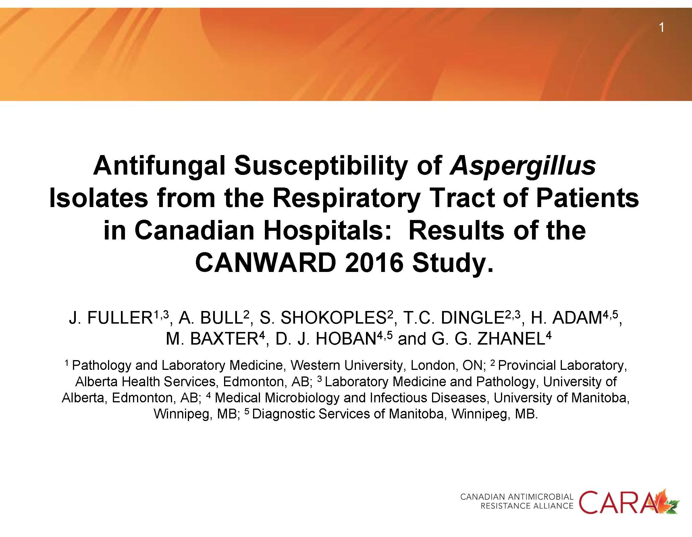CANWARD Aspergillus 2016
